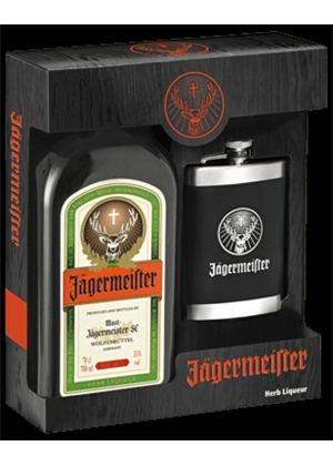 Jagermeister Gift Box Hip Flask 700ml, 35%