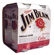 Jim Beam & Cola 4 x 440ml Cans, 5%-bourbon-TopShelf Liquor Online Nz