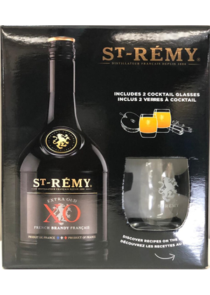 St Remy Xo Glass Gift Pack 750ml, 40%